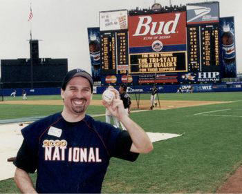 Adam M. Thompson & Adam at Shea Stadium at the 2000 Bobby Valentine Foundation Charity Event