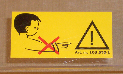 A warning lable on a box
